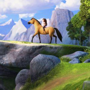 Lucky Prescott (Isabela Merced) riding Spirit in DreamWorks Animation's Spirit Untamed, directed by Elaine Bogan.