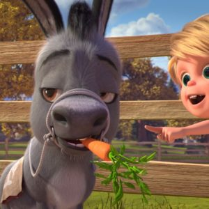 (from left) Donkey Señor Carrots and Snips Stone (Lucian Perez) in DreamWorks Animation's Spirit Untamed, directed by Elaine Bogan.