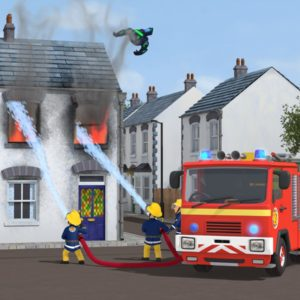 FIREMAN SAM™ NORMAN PRICE & THE MYSTERY IN THE SKY MOVIE STILL :  The V2 suit crashes through town out of control, igniting buildings with its rocket thrusters as it goes. The firefighters race to put out the fires, but as soon as they extinguish one, several more start.